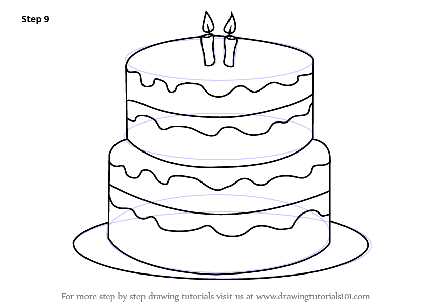 845x598 Step By Step How To Draw A Birthday Cake