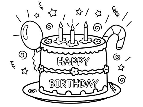 494x370 Coloring Page Birthday Cake Drawing Board Weekly