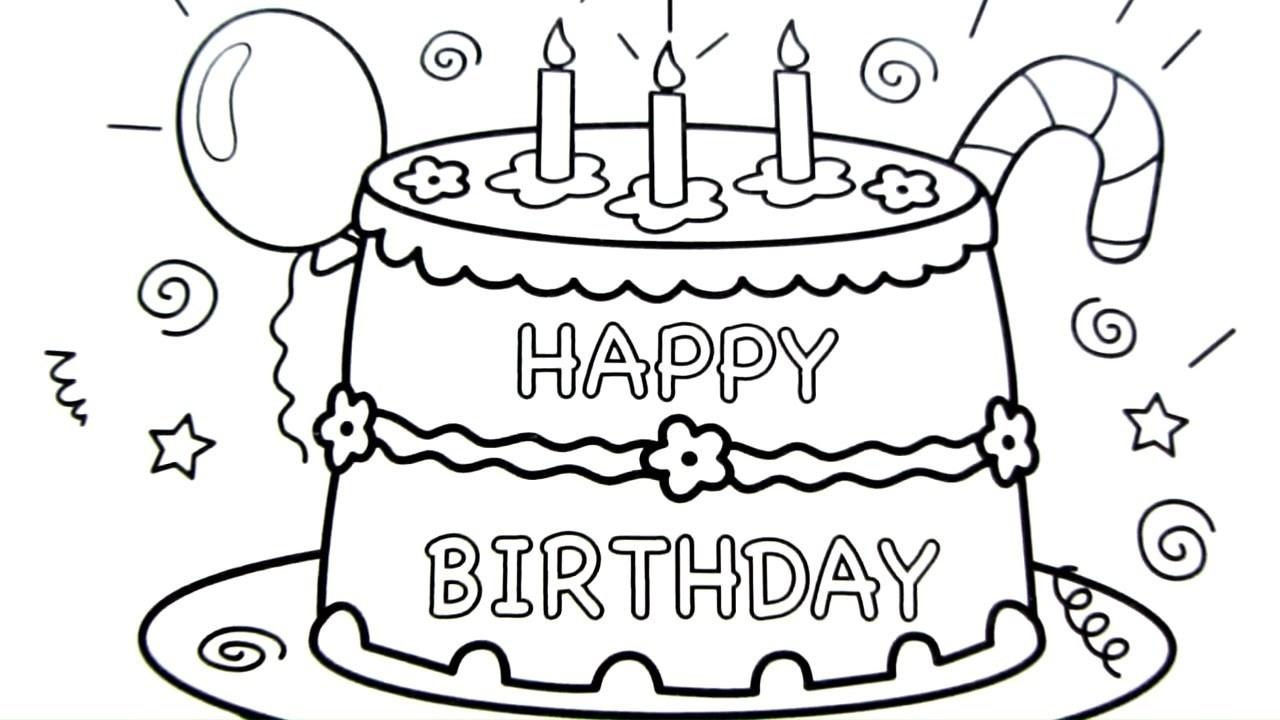 1280x720 Birthday Cake Drawing