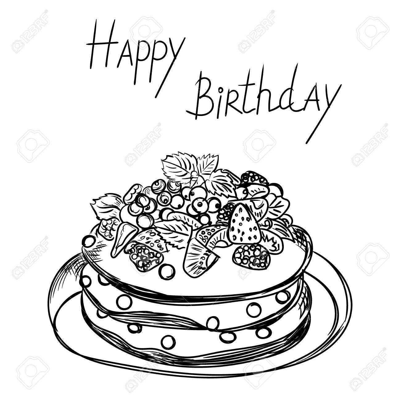 1300x1300 Birthday Cake In Sketch Style Royalty Free Cliparts Vectors