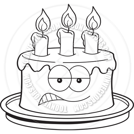 460x460 Cartoon Angry Birthday Cake (Black And White Line Art) By