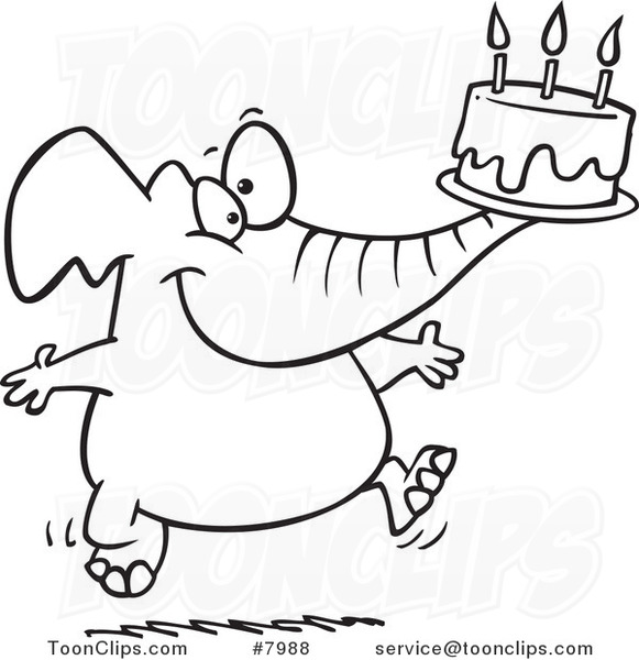581x600 Cartoon Black And White Line Drawing Of A Birthday Elephant