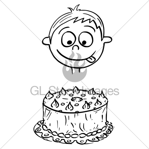 500x500 Cartoon Illustration Of Boy Looking At Birthday Cake Gl Stock Images