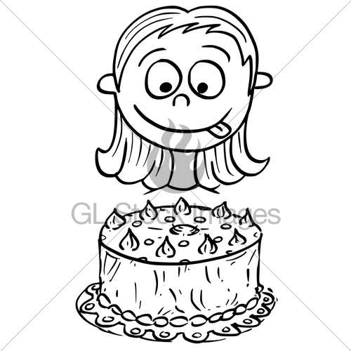 500x500 Cartoon Illustration Of Girl Looking At Birthday Cake Gl Stock