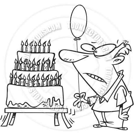 460x460 Cartoon Old Man Birthday Cake (Black And White Line Art) By Ron