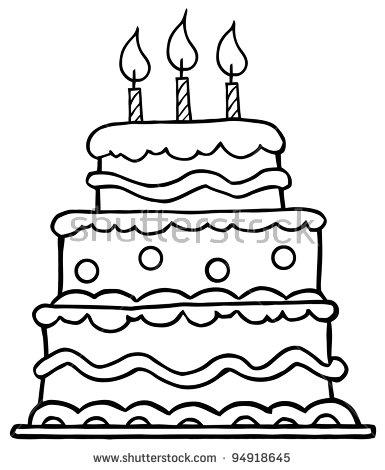 385x470 Cozy Design Birthday Cake Outline Cartoon Vector Illustration