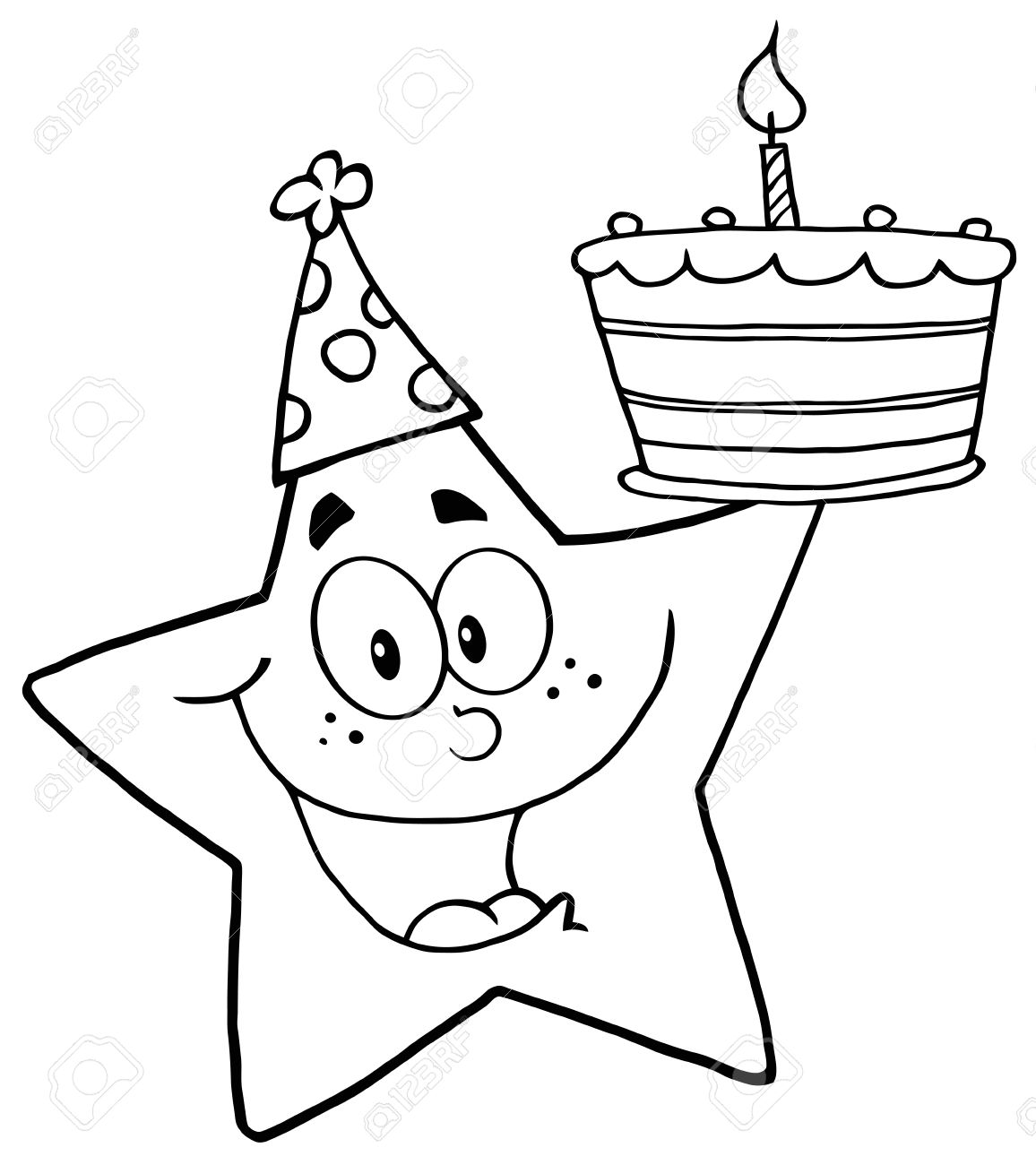 1156x1300 Outline Happy Star Holding A Birthday Cake Royalty Free Cliparts