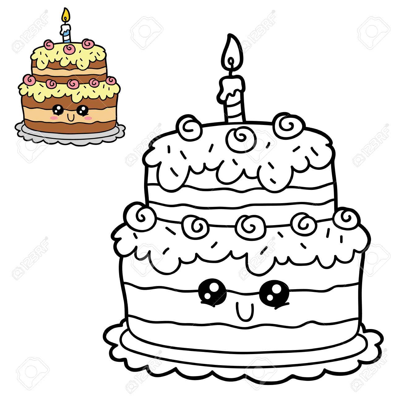 1300x1300 Vector Illustration Coloring Page Of Happy Cartoon Birthday Cake