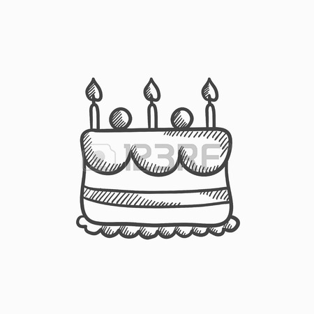 450x450 Birthday Cake With Candles Vector Sketch Icon Isolated