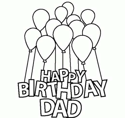 518x492 Colorings Happy Birthday Dad Coloring Cake Drawing