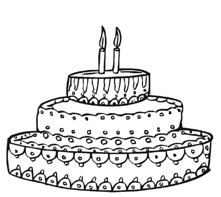 890x794 Colour Drawing Free Wallpaper Birthday Cake Printable Coloring