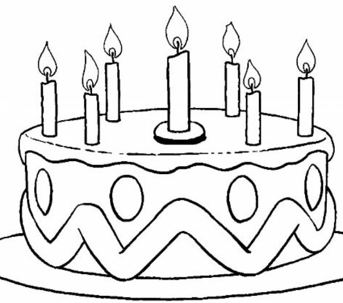 678x600 Birthday Cake Colouring Page Coloring Pages