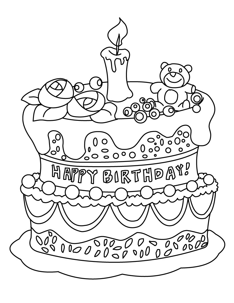 821x1061 Birthday Cake Coloring Pages Birthday Cake Coloring Pages Free