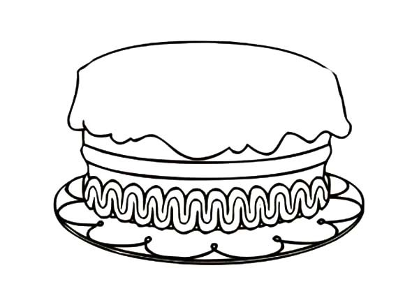 600x427 Birthday Cake No Candles Coloring Page Coloring Page For Kids