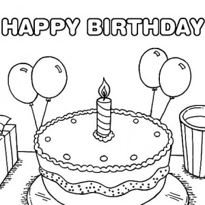 300x300 Birthday Cake And Balloons Coloring Pages