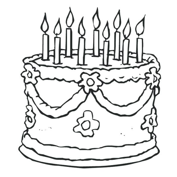 595x595 Pin Drawn Birthday Coloring Page Cake Song Mp3 Download Pencil