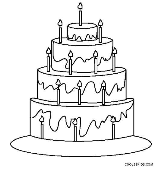 524x560 Birthday Cake Coloring Page Printable