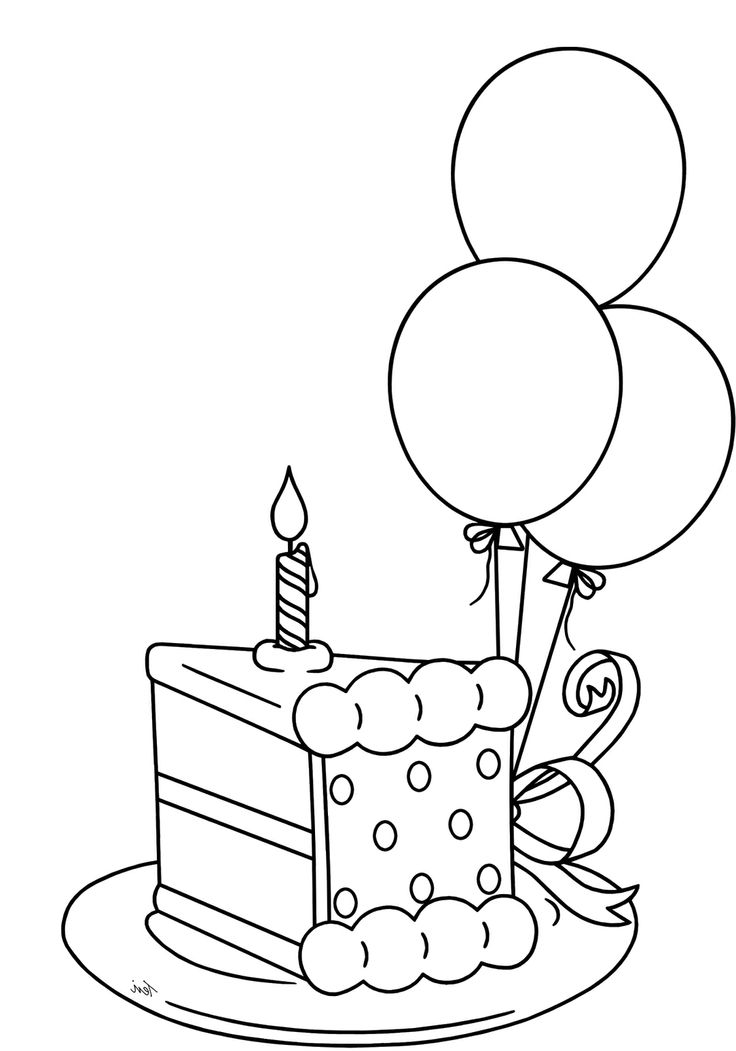 Birthday Cake Line Drawing