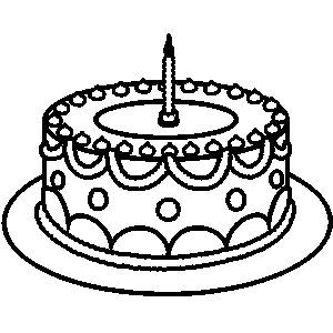 300x300 Birthday Cake With One Candle Clipart