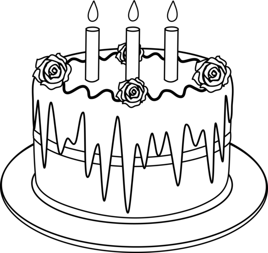 550x520 Colorable Line Art Of Birthday Cake