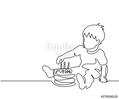 500x417 Continuous Line Drawing. Little Boy With Birthday Cake. Vector