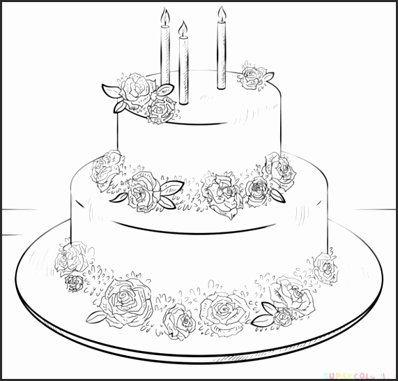 571x546 Drawing Pictures Of Birthday Cakes Ejquh Lovely Birthday Cake Line