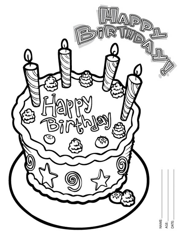 600x776 Happy Birthday Cake With Four Candles Coloring Page Color Luna