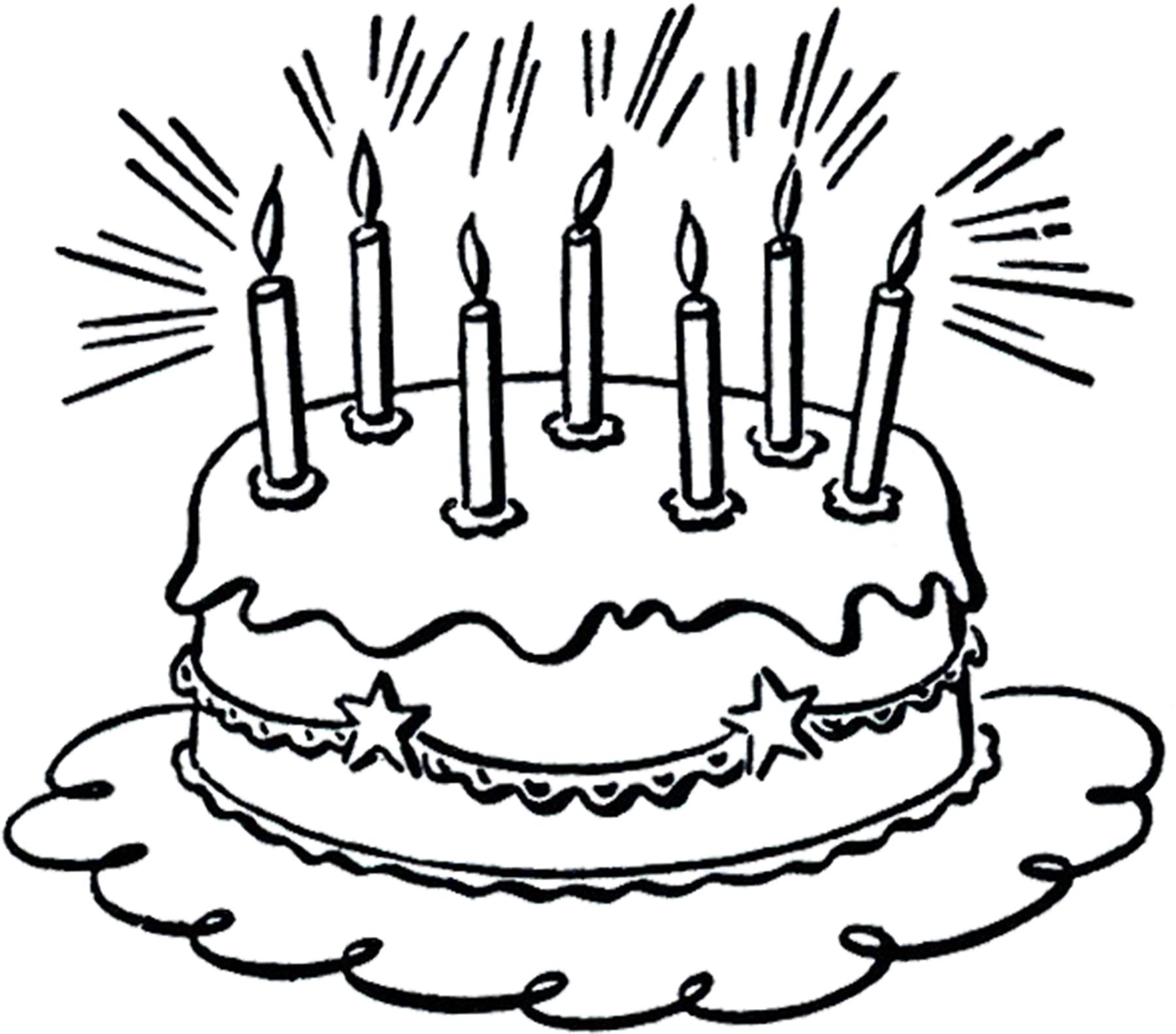 1800x1582 Vintage Birthday Cake Line Art Cakes
