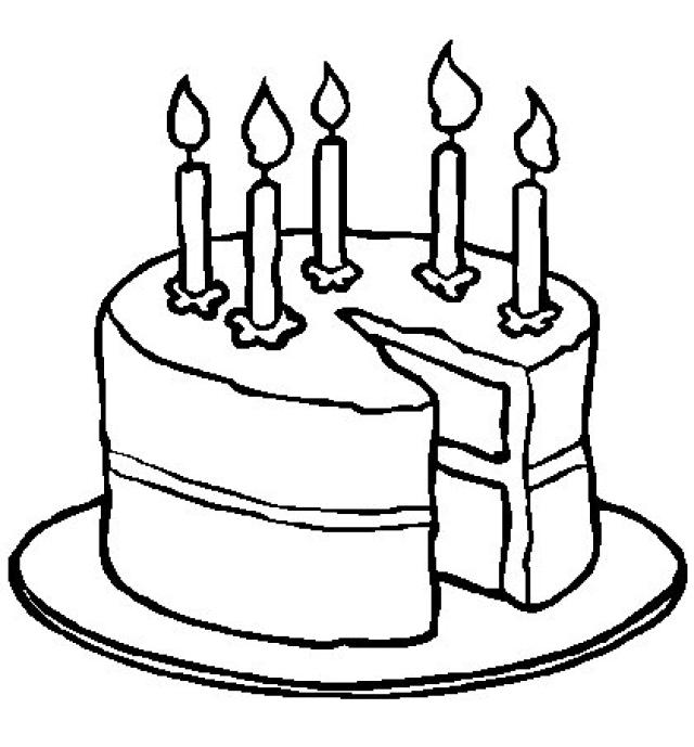 640x689 Birthday Cake Coloring Pages