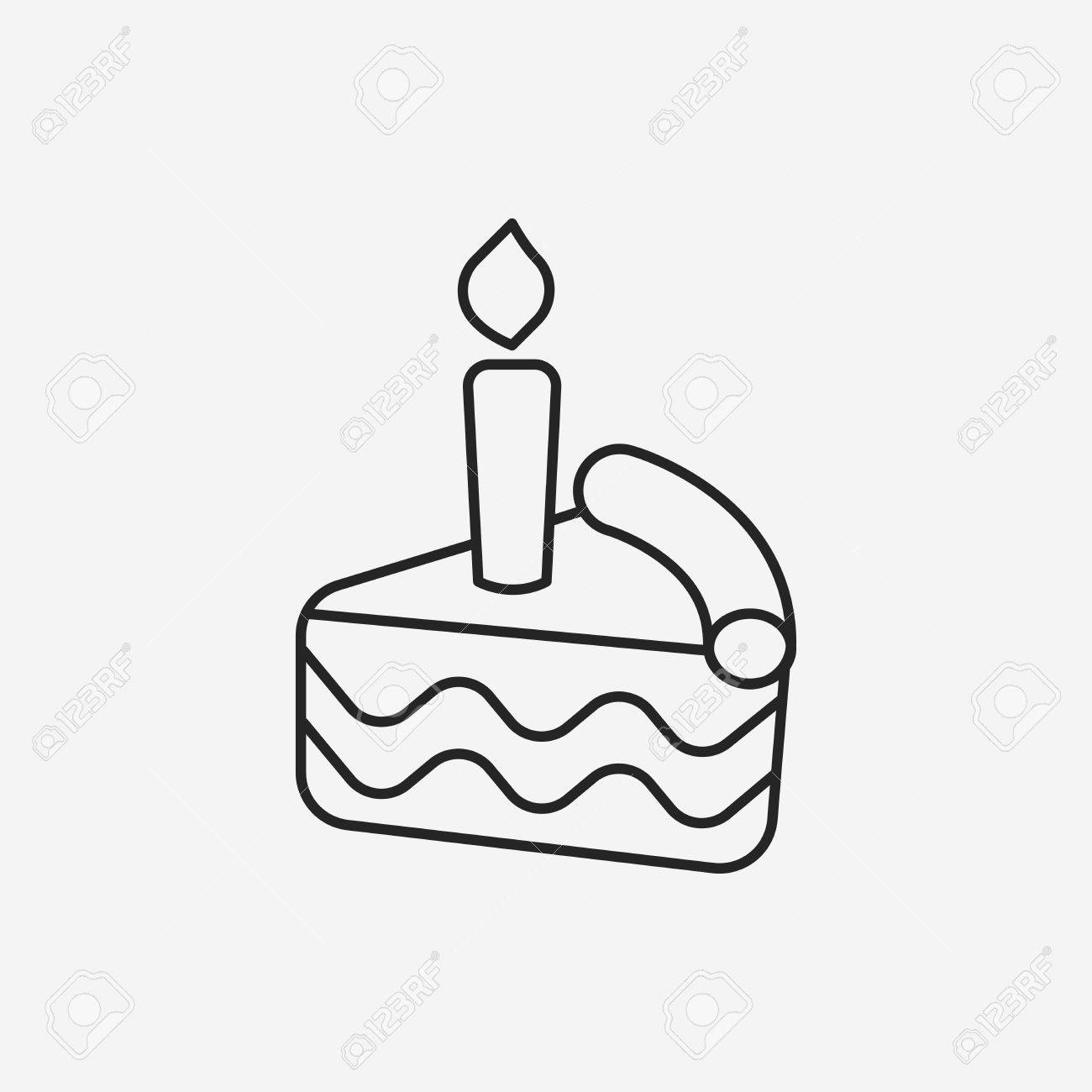 1300x1300 Birthday Cake Line Icon Royalty Free Cliparts, Vectors, And Stock