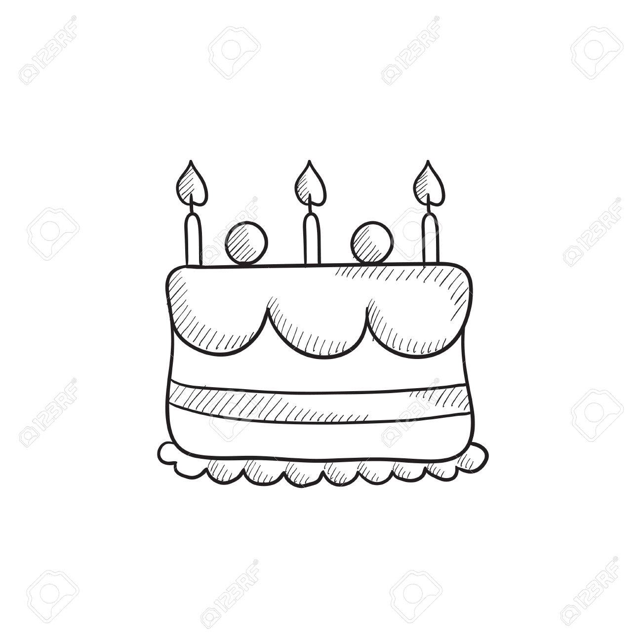 1300x1300 Birthday Cake With Candles Vector Sketch Icon Isolated