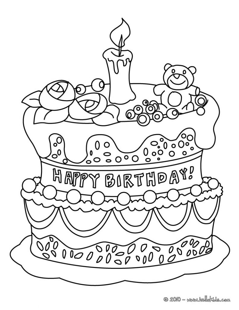 792x1024 Cake Coloring Pages Photo Ideas Birthday For Excellent Kids Free