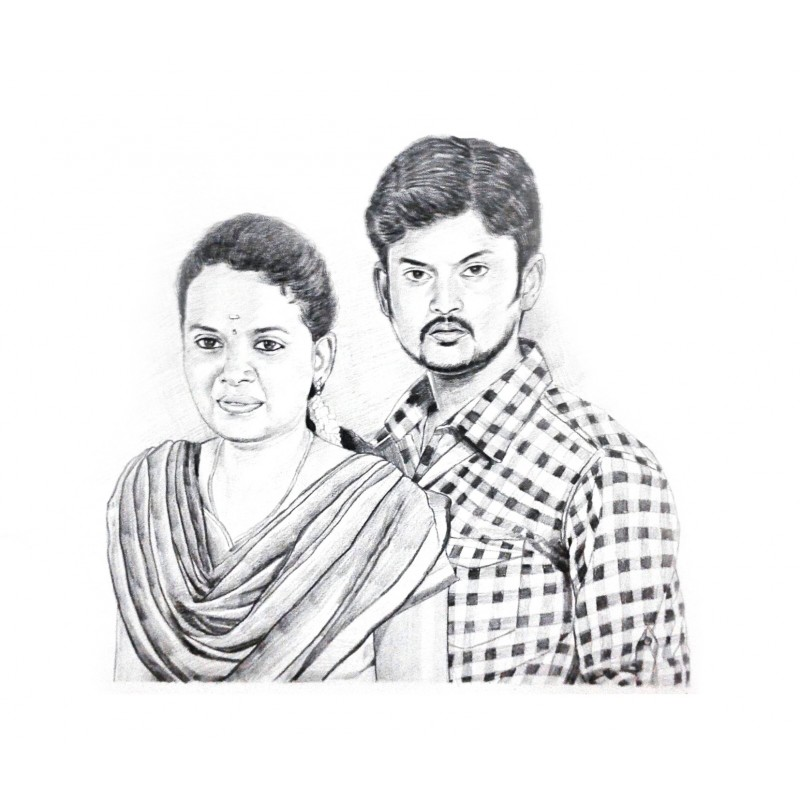 800x800 Couple Pencil Sketch Portrait