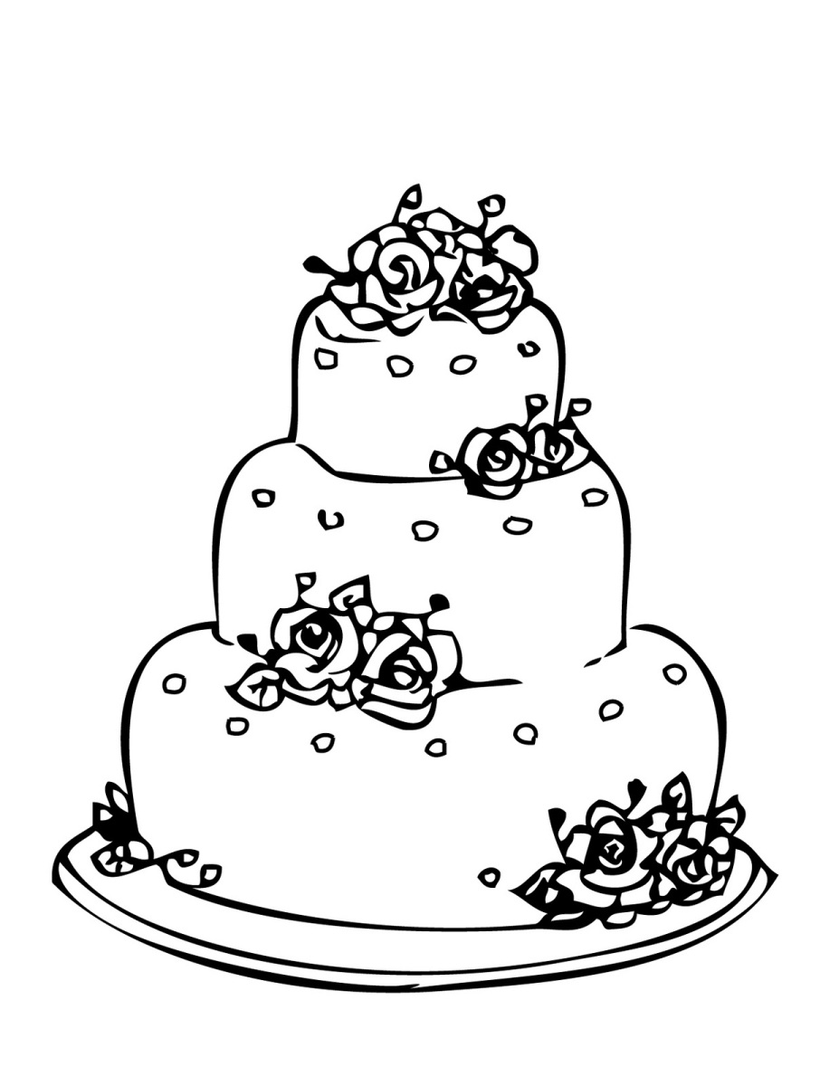 927x1200 Wedding Cake Coloring Page For Drawing 1 Winter