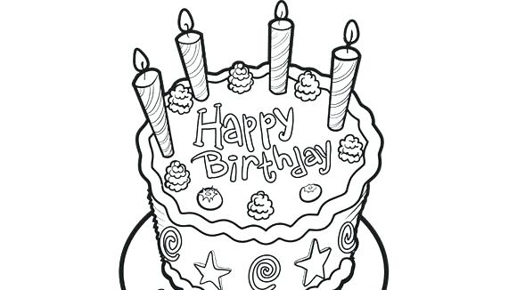 580x326 Birthday Cake Coloring Pictures Pages On Wedding Cake Clipart