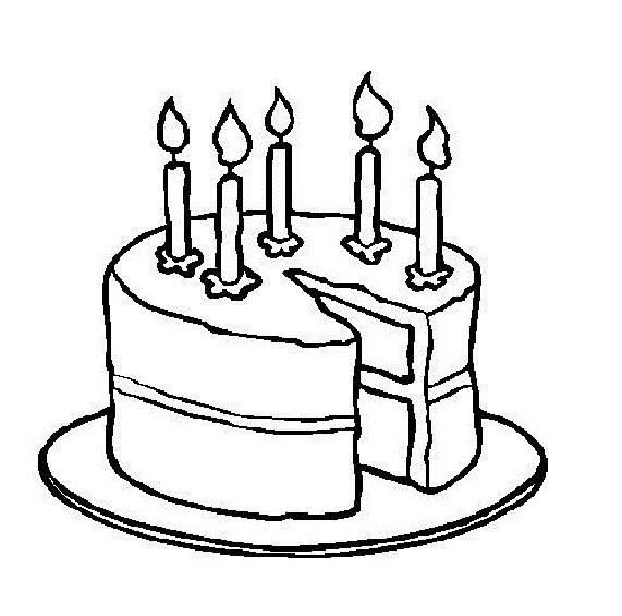 571x565 Birthday Cake With 5 Candles Coloring Page Coloring Page For Kids
