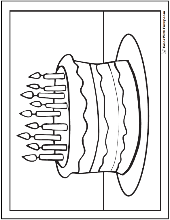 590x762 Cake And Candle Happy Birthday Coloring Page