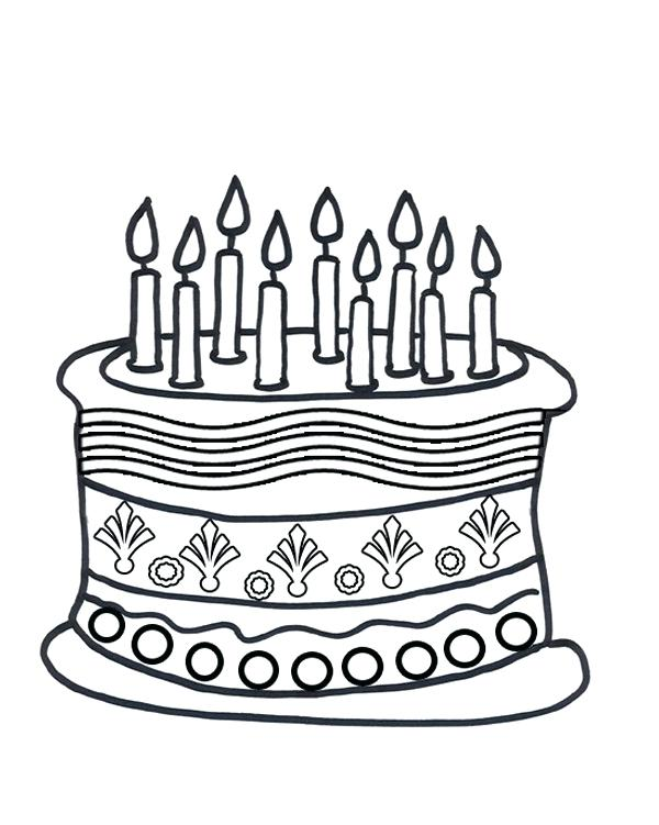600x751 Coloring Page Birthday Cake Amazing Birthday Cake Coloring Pages