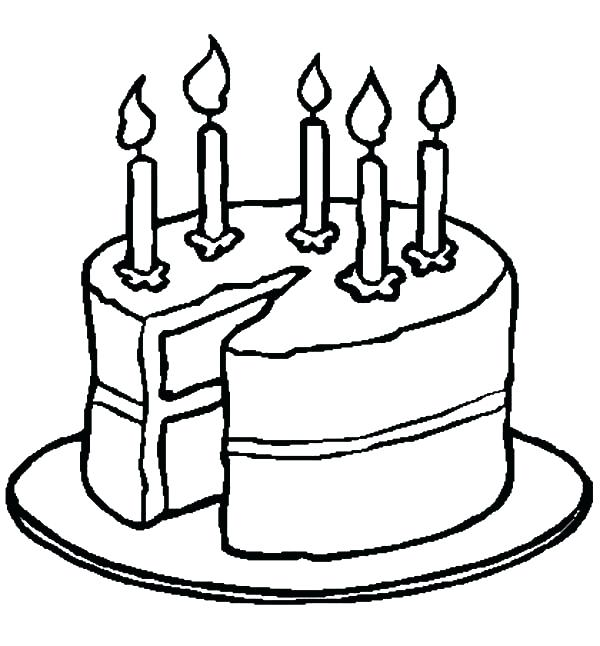600x646 Coloring Page Birthday Cake Coloring Pages Birthday Cake Coloring