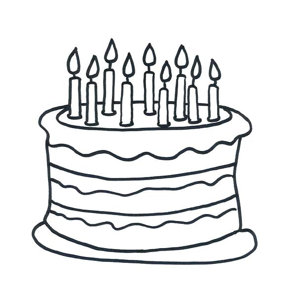 612x588 Coloring Page Birthday Cake Happy Birthday Cake With Four Candles