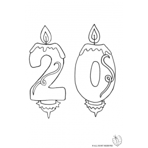 300x300 Coloring Page Of Number Twenty Birthday Candle Coloring
