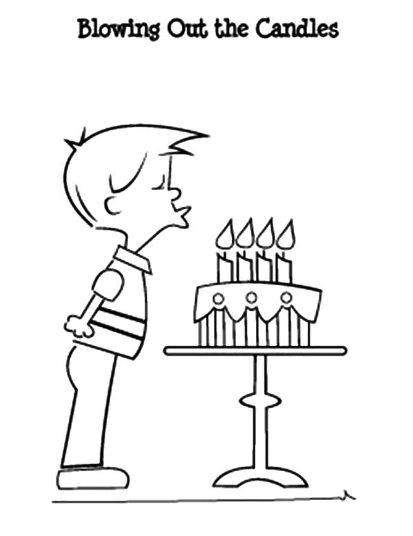 600x778 Birthday Boy Blowing Out The Candles Coloring Pages Best Place