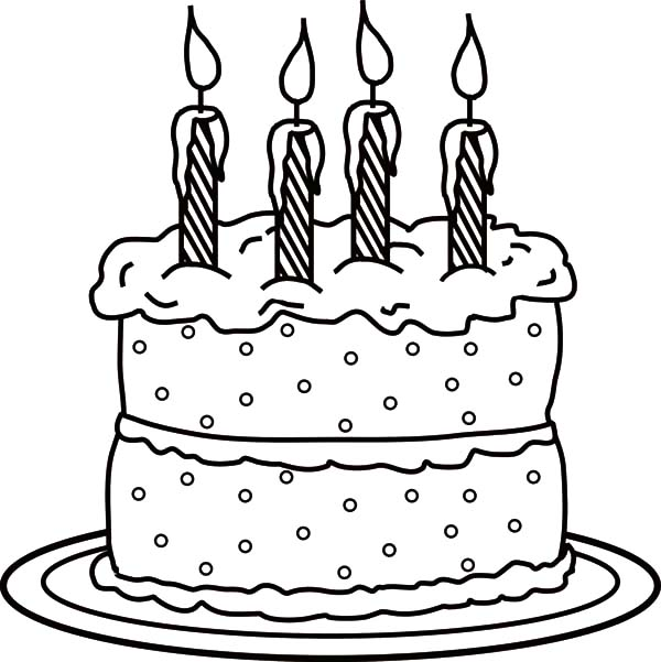 600x601 Picture Of Birthday Candle On Cake Coloring Pages