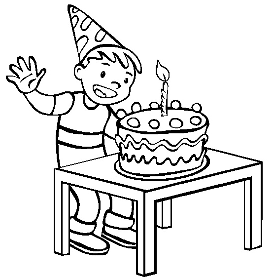 554x565 Happy Birthday Cake With Single Candle Coloring Page For Kids