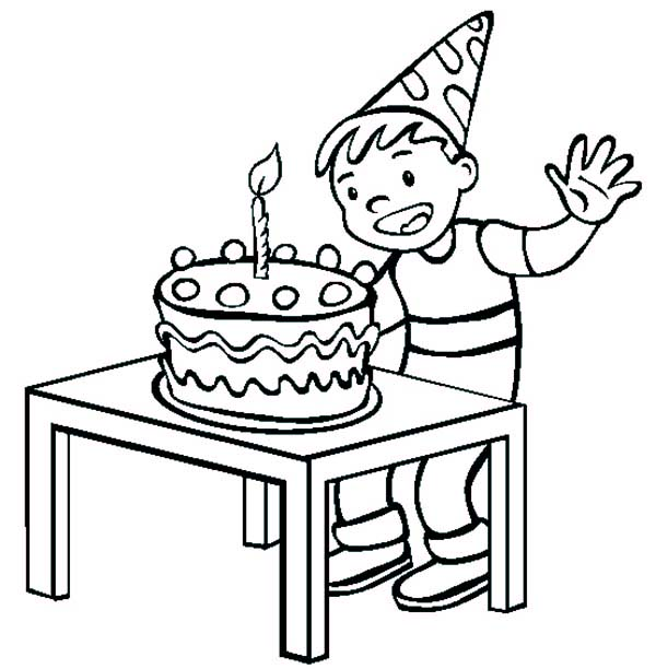 600x612 Birthday Boy Ready To Blow The Candle Coloring Pages Best Place