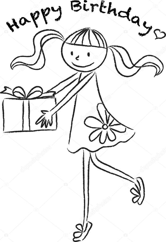 701x1023 Cartoon Drawing Happy Birthday Card Stock Photo Wenpei