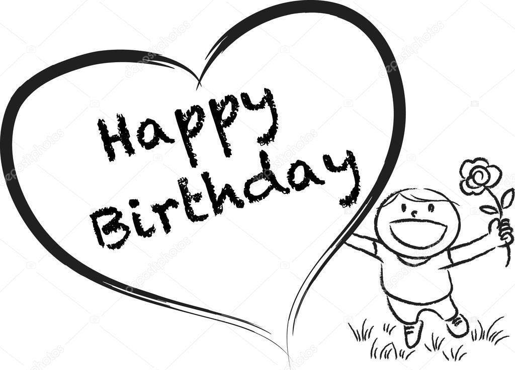 1024x737 Cartoon Drawing Happy Birthday Card Stock Photo Wenpei
