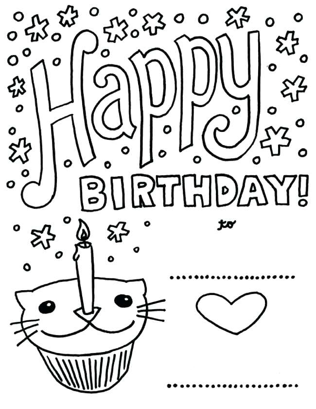 650x840 Coloring Page Birthday Card Best Printable Happy Birthday Cards