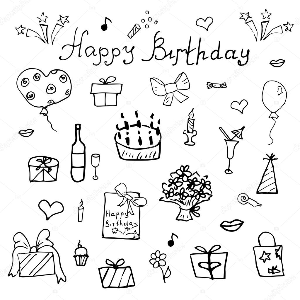 1024x1024 Birthday Elements. Hand Drawn Set With Birthday Cake, Balloons