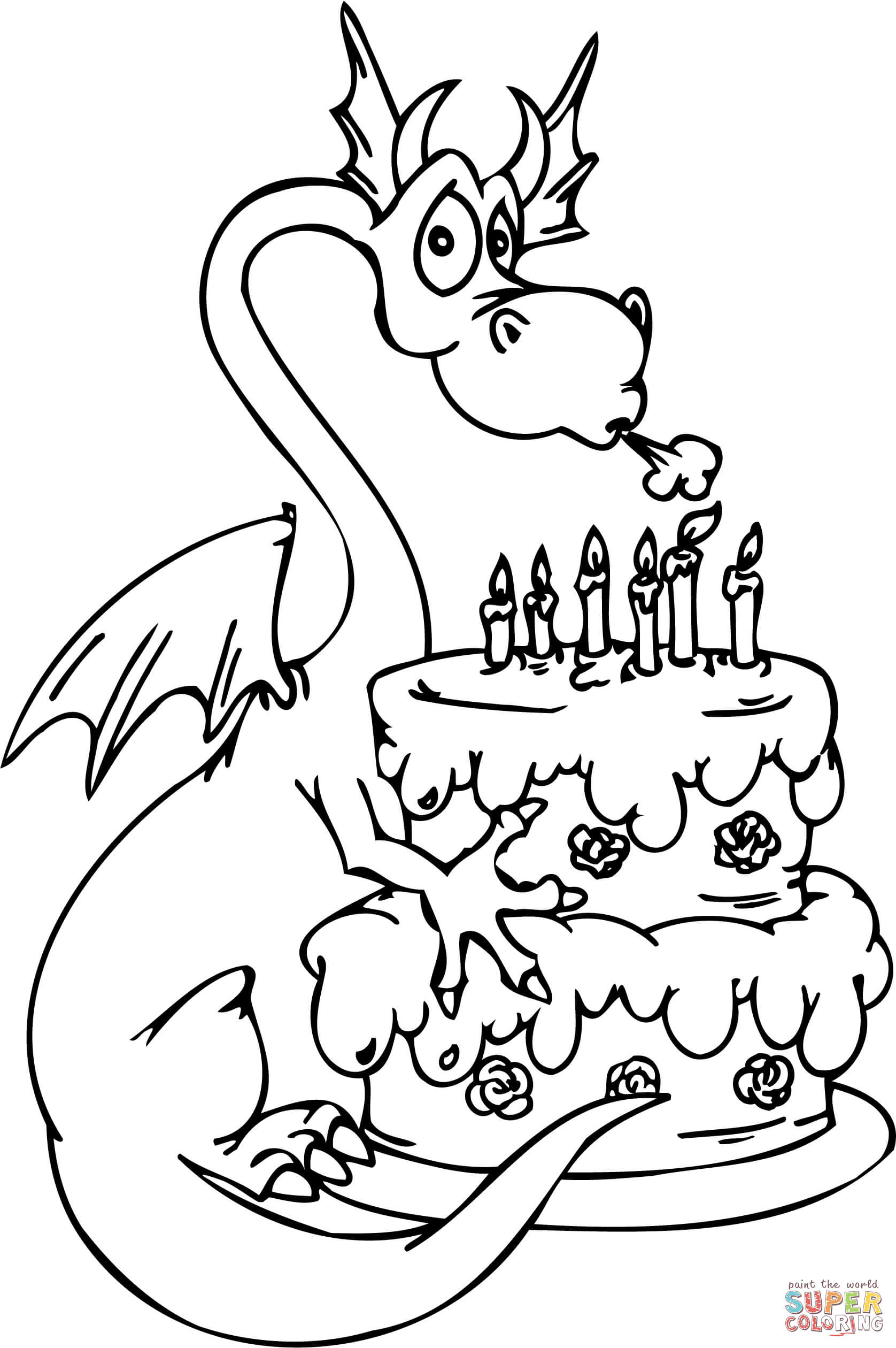 1676x2520 Dragon With Happy Birthday Cake Coloring Page Free Printable